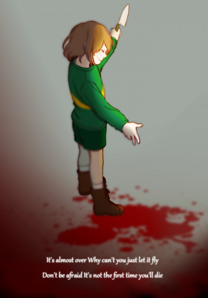 Tags: Anime, Sayu0125, Undertale, Chara (Undertale), Green Shorts, Puddle of Blood, Puddle, Twitter, Fanart, Mobile Wallpaper, PNG Conversion
