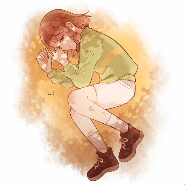 Tags: Anime, Soru830, Undertale, Chara (Undertale), Striped Sweater, White Shorts, Striped Outerwear, PNG Conversion, Fanart, Twitter