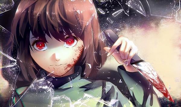 Tags: Anime, Pixiv Id 9323232, Undertale, Chara (Undertale), Cracks, Broken Glass, Blood On Weapons, Fanart From Pixiv, Pixiv, Fanart