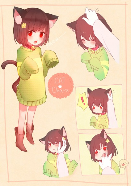 Tags: Anime, Dayuh, Undertale, Chara (Undertale), Caressing, Fanart From Pixiv, Mobile Wallpaper, Pixiv, Fanart