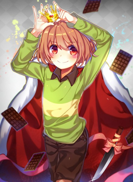 Tags: Anime, drag0nia, Undertale, Chara (Undertale), Brown Shorts, Mini Crown, Chocolate Bar, Royal Robe, Tumblr, Pixiv, Fanart From DeviantART, Fanart, Fanart From Pixiv