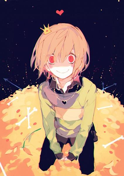 Tags: Anime, Pixiv Id 3323811, Undertale, Chara (Undertale), Mini Crown, Heart Necklace, Pixiv, Fanart, Mobile Wallpaper, Fanart From Pixiv