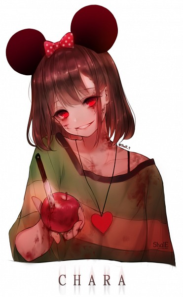 Tags: Anime, Shal.E, Undertale, Chara (Undertale), Minnie Mouse (Cosplay), Spotted Bow, Scratch, Blood On Weapons, Heart Necklace, Mobile Wallpaper, PNG Conversion