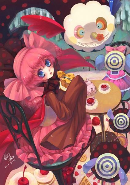 Tags: Anime, Sanmi Tenten, Mahou Shoujo Madoka☆Magica, Pyotr, Charlotte (Madoka Magica), Cheese, Pixiv, Fanart, Mobile Wallpaper