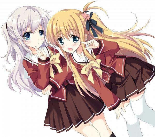 Tags: Anime, Hizuki Yayoi, Charlotte (Series), Tomori Nao, Nishimori Yusa, Fanart, PNG Conversion
