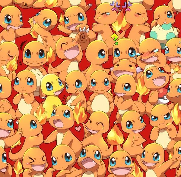 Tags: Anime, Chiyo (Pixiv195815), Pokémon, Charmander, Cheek Pull, Pinching, Shiny Pokémon, Pixiv, Fanart