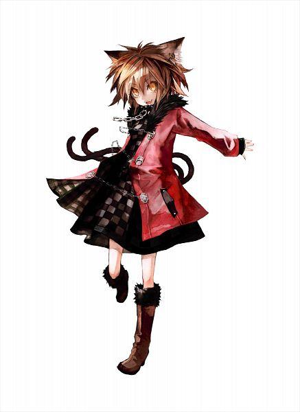 Tags: Anime, Banpai Akira, ZUN, Frontier Aja, Koumajou Densetsu, Touhou, Chen, Red Coat, Checkered Dress, Mobile Wallpaper, Official Art