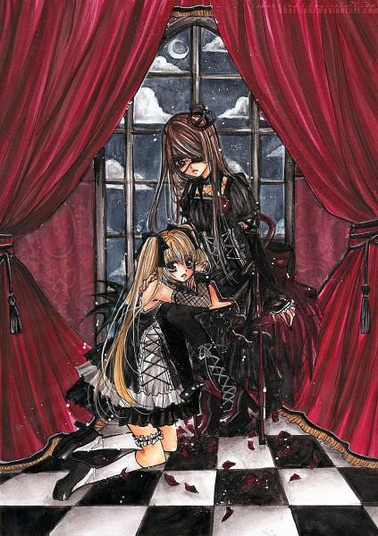 Tags: Anime, Cherriuki, A Dead Night, Tamari (Cherriuki), Kurohana (Character), Mobile Wallpaper, deviantART, Traditional Media, Original