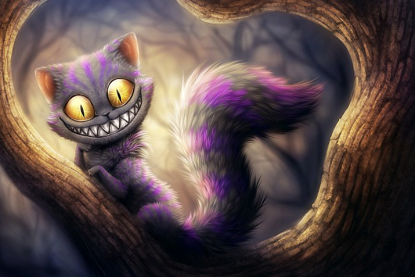 Tags: Anime, Alice in Wonderland, Cheshire Cat, Creepy Smile, Artist Request