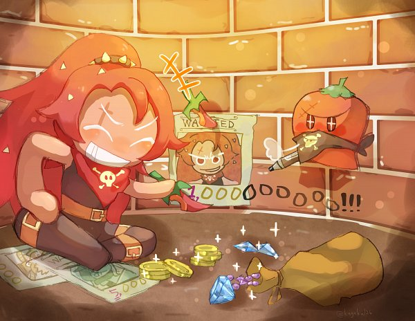 Tags: Anime, Pixiv Id 3678672, Cookie Run: OvenBreak, Cookie Run, Chili Pepper Cookie, Wanted Poster, Coin, Money, Thief, Fanart From Pixiv, Pixiv, Fanart