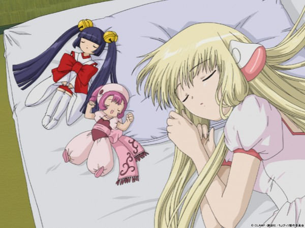 Tags: Anime, Chobits, Kotoko (Chobits), Sumomo (Chobits), Chii, Futon, Official Art, Wallpaper, Official Wallpaper