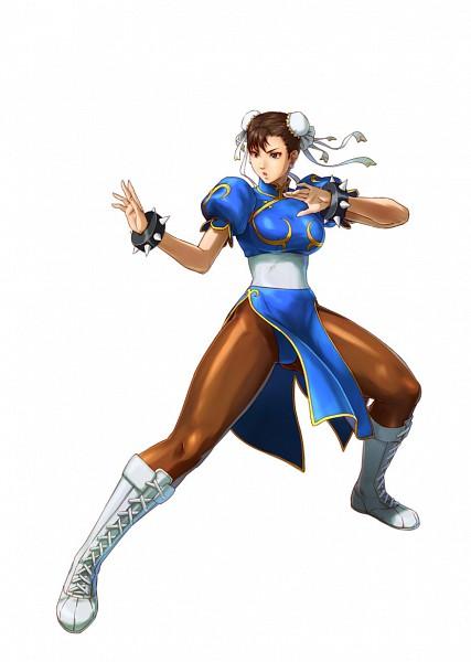 Tags: Anime, Project X Zone, Street Fighter, Chun-Li, Spiked Bracelet, Brown Legwear, Official Art