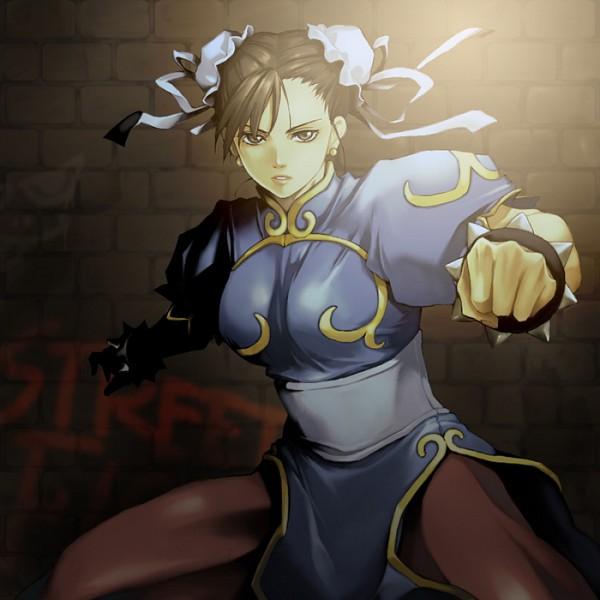Tags: Anime, Aokoma, Street Fighter, Chun-Li, Spiked Bracelet, Graffiti, Fanart, Pixiv