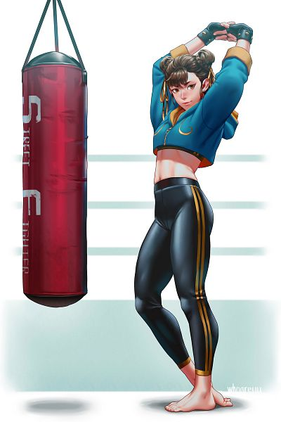 Tags: Anime, Whoareuu, Street Fighter, Chun-Li, Stretch, Punching Bag