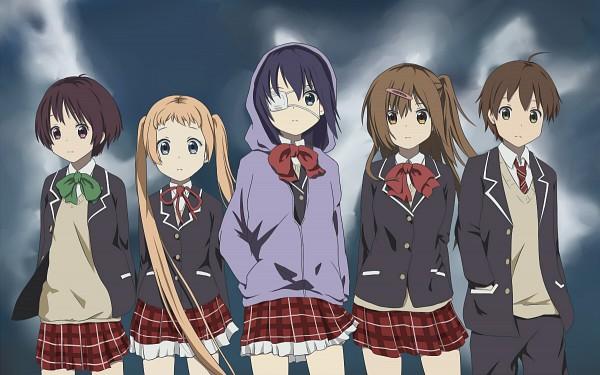 Tags: Anime, Pixiv Id 3538003, Chuunibyo Demo Koi ga Shitai!, Tsuyuri Kumin, Nibutani Shinka, Togashi Yuuta, Takanashi Rikka, Dekomori Sanae, Company Connection, K-ON! (Parody), K-ON! Character Design, Love Chunibyo & Other Delusions!