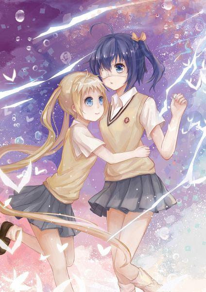 Tags: Anime, TAMAXI, Chuunibyo Demo Koi ga Shitai!, Dekomori Sanae, Takanashi Rikka, Shirai Kuroko (Cosplay), Misaka Mikoto (Cosplay), Pixiv, Fanart, Love Chunibyo & Other Delusions!
