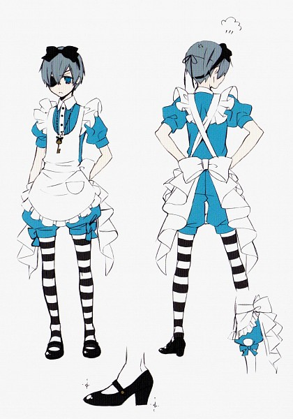 Tags: Anime, Toboso Yana, Kuroshitsuji, Ciel in Wonderland, Ciel Phantomhive, Alice (Alice in Wonderland) (Cosplay), Scan, Official Art, Mobile Wallpaper, Character Sheet