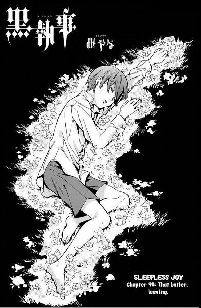 Tags: Anime, Toboso Yana, Kuroshitsuji, Ciel Phantomhive, Laying on Grass, Chapter Cover, Official Art, Mobile Wallpaper, Manga Page, Small Manga Page