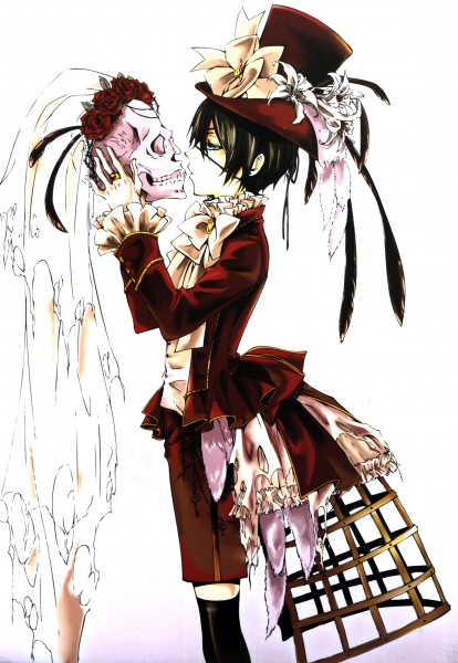 Tags: Anime, Toboso Yana, SQUARE ENIX, Kuroshitsuji, Ciel Phantomhive, Hoop Skirt, Mobile Wallpaper, Scan, Official Art