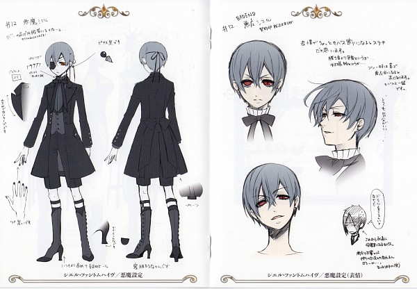 Tags: Anime, Toboso Yana, Kuroshitsuji, Ciel Phantomhive, Ciel Phantomhive (Demon), Sebastian Michaelis, Character Sheet, Official Art