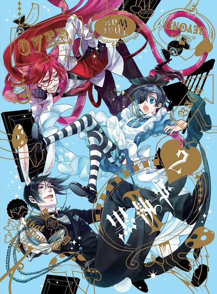 Tags: Anime, Toboso Yana, SQUARE ENIX, Kuroshitsuji, Ciel in Wonderland, Ciel Phantomhive, Sebastian Michaelis, Grell Sutcliff, White Rabbit (Cosplay), Alice (Alice in Wonderland) (Cosplay), Cheshire Cat (Cosplay), Official Art