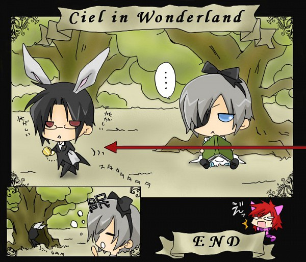 Tags: Anime, Kuroshitsuji, Ciel in Wonderland, Sebastian Michaelis, Grell Sutcliff, Ciel Phantomhive, White Rabbit (Cosplay), Alice (Alice in Wonderland) (Cosplay), Cheshire Cat (Cosplay), Artist Request