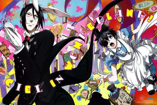Tags: Anime, Harada Hiroki, SQUARE ENIX, Kuroshitsuji, Ciel in Wonderland, Ciel Phantomhive, Sebastian Michaelis, White Rabbit (Cosplay), Alice (Alice in Wonderland) (Cosplay), Tailcoat, Official Art, Scan