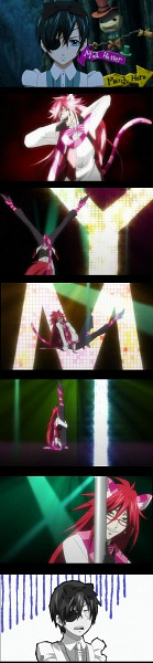 Tags: Anime, SQUARE ENIX, Kuroshitsuji, Ciel in Wonderland, Grell Sutcliff, Ciel Phantomhive, Alice (Alice in Wonderland) (Cosplay), Cheshire Cat (Cosplay), Screenshot