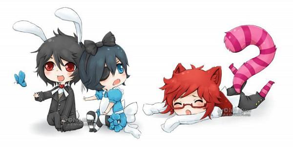 Tags: Anime, Zara Alfonso, Kuroshitsuji, Ciel in Wonderland, Grell Sutcliff, Ciel Phantomhive, Sebastian Michaelis, Cheshire Cat (Cosplay), White Rabbit (Cosplay), Fanart, Facebook Cover