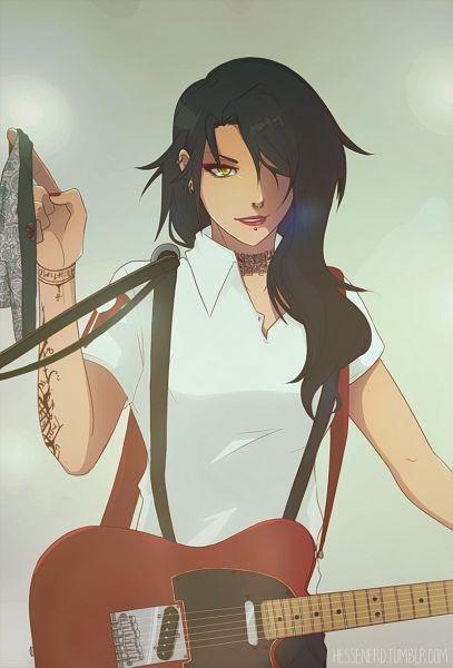 Tags: Anime, Haleyfall, RWBY, Cinder Fall, Holding Guitar, Nose Piercing, Tumblr, Fanart From Tumblr, Fanart