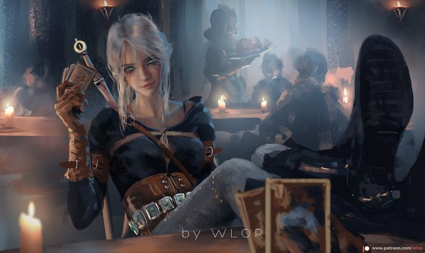 Tags: Anime, wlop, The Witcher, Cirilla Fiona Elen Riannon, Feet On Table, Bar, Leather Gloves, Legs On Table, Leather Boots, deviantART