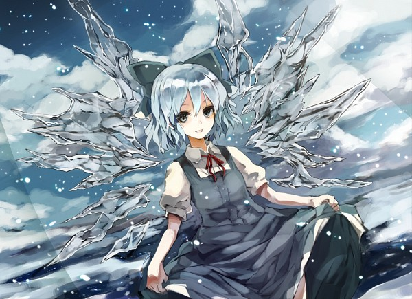 Tags: Anime, Monorino, Touhou, Cirno, Cold Colors, Curtsey, Revision, Pixiv, Fanart From Pixiv, Fanart
