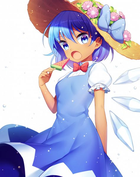 Tags: Anime, Jenevan, Touhou, Hidden Star in Four Seasons, Cirno, Hat Flower, Watermelon Popsicle, Morning Glory, Fanart, Fanart From Pixiv, Pixiv, PNG Conversion
