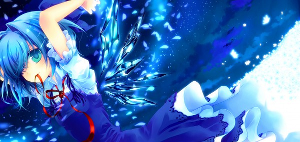 Tags: Anime, Konno Kengo, Touhou, Cirno, Facebook Cover, Fancy Winged Flandre, Pixiv