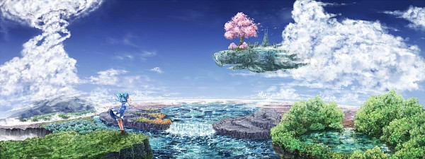 Tags: Anime, Same 2009, Touhou, Cirno, Waterfall, Pixiv, Facebook Cover