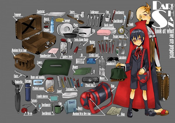 Tags: Anime, Pixiv Id 869783, Cirque du Freak (Book), Darren Shan (Character), Larten Crepsley, What's in my Bag