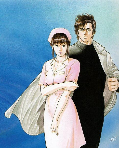 Tags: Anime, Hojo Tsukasa, City Hunter, Ryo Saeba, Asou Kasumi, Official Art