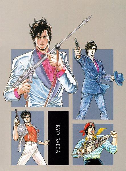 Tags: Anime, Hojo Tsukasa, City Hunter, Ryo Saeba, Official Art