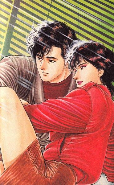 Tags: Anime, Hojo Tsukasa, City Hunter, Ryo Saeba, Makimura Kaori, Official Art