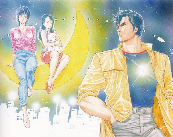 Tags: Anime, Hojo Tsukasa, City Hunter, Makimura Kaori, Ryo Saeba, Nogami Saeko, Official Art