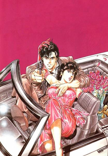 Tags: Anime, Hojo Tsukasa, City Hunter, Makimura Kaori, Ryo Saeba, Pink Gloves, Shooting, Pink Handwear, Official Art