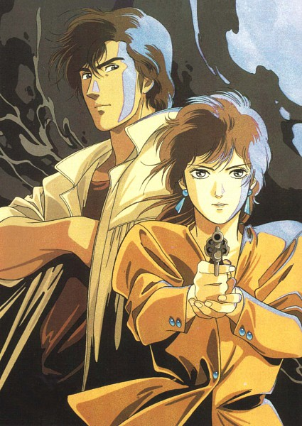 Tags: Anime, City Hunter, Ryo Saeba, Makimura Kaori, Hand in Shirt, Official Art