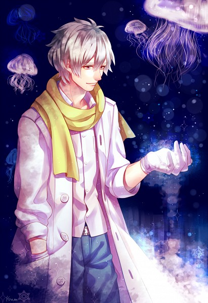 Tags: Anime, K.sum, DRAMAtical Murder, Clear (DMMd), Looking At Hands, Jellyfish, Fanart, Mobile Wallpaper, Fanart From Pixiv, Pixiv