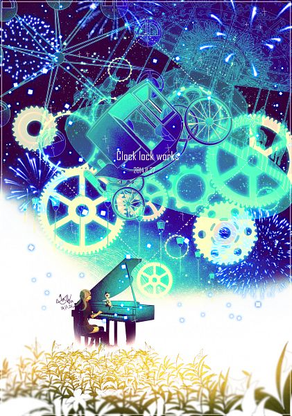 Tags: Anime, Pixiv Id 2603770, VOCALOID, Hatsune Miku, Carriage, Square, Ferris Wheel, Playing Piano, Carousel, Light Pole, PNG Conversion, Fanart, Clock Lock Works