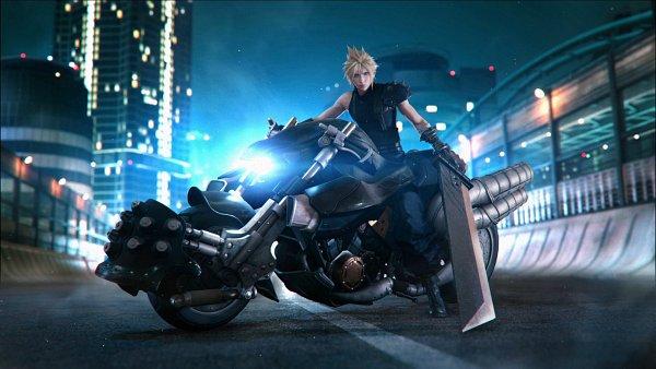 Tags: Anime, SQUARE ENIX, Final Fantasy VII, Final Fantasy VII Remake, Cloud Strife, Light Pole, Oversized Object, Motion Blur, Huge Weapon, Screenshot