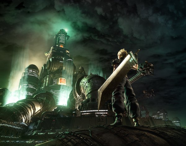 Tags: Anime, SQUARE ENIX, Final Fantasy VII Remake, Final Fantasy VII, Cloud Strife, Oversized Object, Huge Weapon, 3D, Key Visual, Official Art