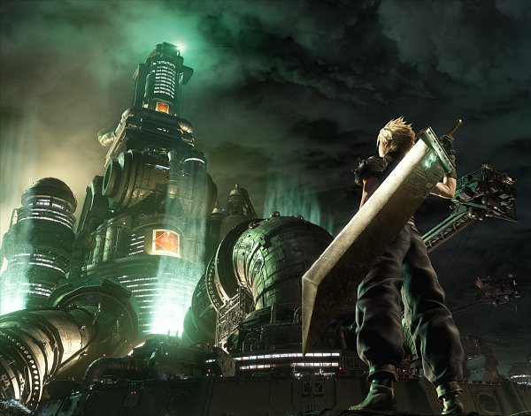 Tags: Anime, SQUARE ENIX, Final Fantasy VII Remake, Final Fantasy VII, Cloud Strife, Huge Weapon, Oversized Object, 3D, Key Visual, Official Art