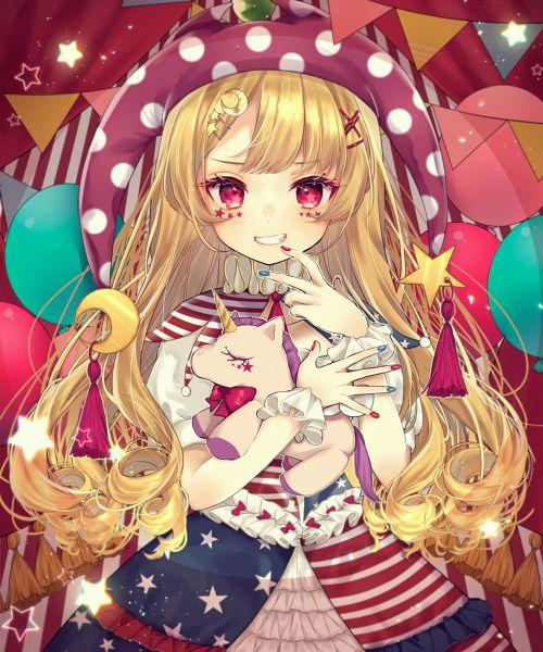 Tags: Anime, Pixiv Id 27497372, Touhou, Clownpiece, Stuffed Horse, Stuffed Unicorn, Ruff Collar, Fanart From Pixiv, Pixiv, Fanart