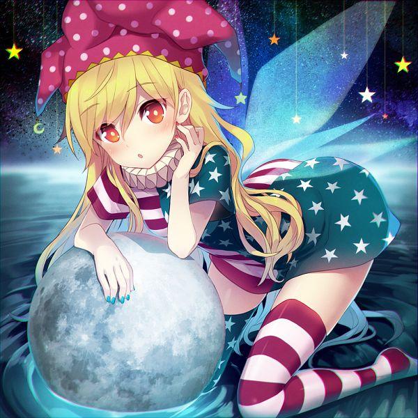 Tags: Anime, Minamura Haruki, Touhou, Clownpiece, Star Print, Asymmetrical Clothing, 1000x1000 Wallpaper, Hanging Star, Star Legwear, Jester Hat, Ruff Collar, Spotted Headwear, Fanart From Pixiv