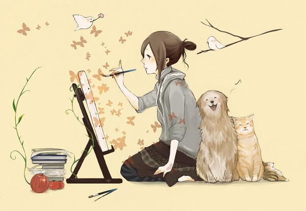 Tags: Anime, Coba, Pixiv Girls Collection, Pixiv Girls Collection 2010, Sparrow, Squirrel, Painting (Action), Pixiv, Original